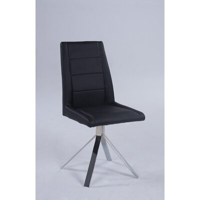 Fils Back Pyramid Base Upholstered Dining Chair (Set of 4) Upholstery Color: Black