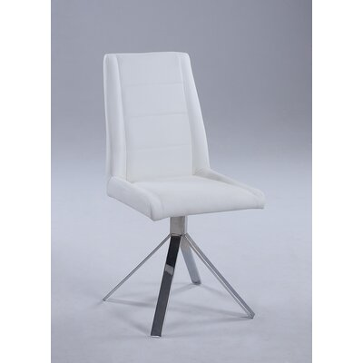 Fils Back Pyramid Base Upholstered Dining Chair (Set of 4) Upholstery Color: White
