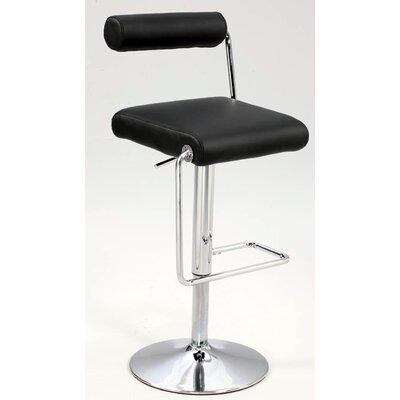 Adjustable Height Swivel Bar Stool Upholstery: Black PU
