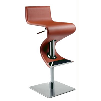 Adjustable Height Swivel Bar Stool Upholstery: Rust