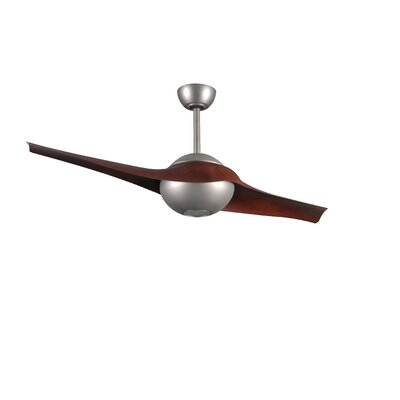 60 C IV 2 Blade LED Ceiling Fan with Remote Finish: Brushed Nickel with Rosewood Blades