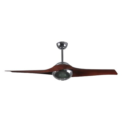 60 C IV 2 Blade LED Ceiling Fan with Remote Finish: Polished Chrome with Rosewood Blades