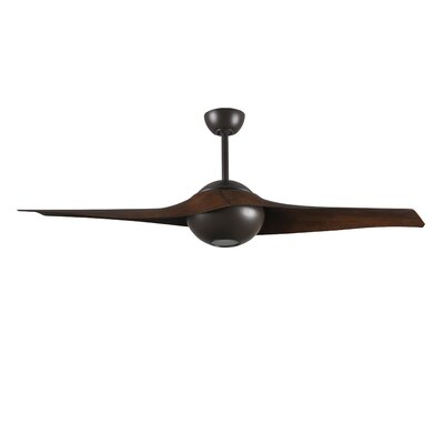 60 C IV 2 Blade LED Ceiling Fan with Remote Finish: Brushed Nickel with Walnut Blades