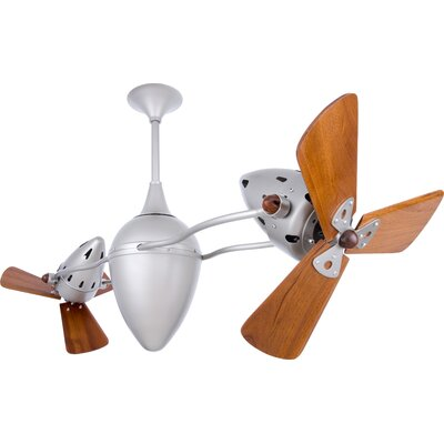 48 Ar Ruthiane 3 Wooden Blade Rotational Ceiling Fan Finish: Brushed Nickel, Damp Location: Yes