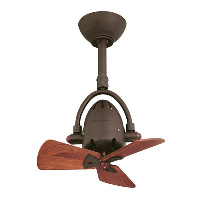 16 Diane Oscillating 3 Wooden Blade Ceiling Fan with Remote Finish: Textured Bronze