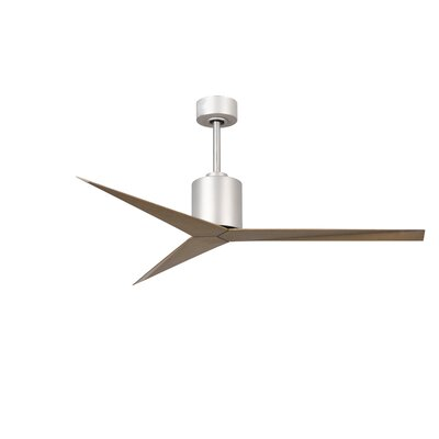 56 Hedin 3-Blade Ceiling Fan with Hand Held and Wall Remote Finish: Brushed Nickel with Gray Ash Blades