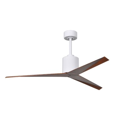 56 Hedin 3-Blade Ceiling Fan with Hand Held and Wall Remote Finish: Gloss White with Walnut Blades