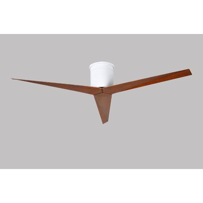 56 Eliza 3-Blade Hugger Ceiling Fan with Remote Finish: White with Walnut Tone Blades