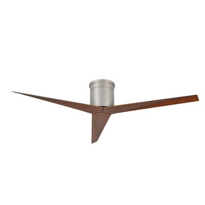 56 Eliza 3-Blade Hugger Ceiling Fan with Remote Finish: Brushed Nickel with Walnut Tone Blades