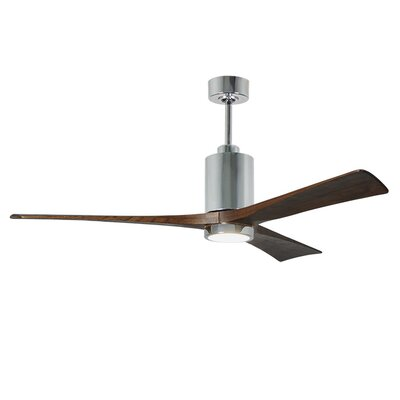 60 Patricia 3-Blade Ceiling Fan with Wall Remote Finish: Polished Chrome