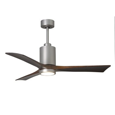 52 Patricia 3-Blade Ceiling Fan with Wall Remote Finish: Polished Chrome Finish with Barn Wood Tone Blades