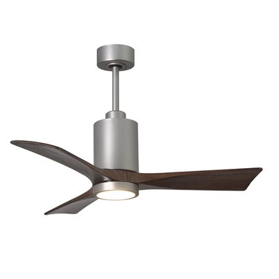 42 Patricia 3 Blade Ceiling Fan with Wall Remote Finish: Brushed Nickel with Walnut Tone Blades