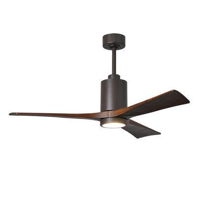 52 Patricia 3-Blade Ceiling Fan with Wall Remote Finish: Textured Bronze