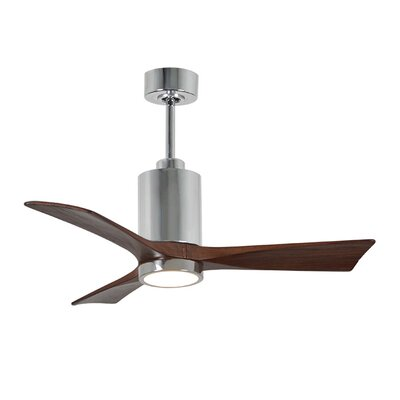 42 Patricia 3-Blade Ceiling Fan with Wall Remote Motor Finish: Polished Chrome