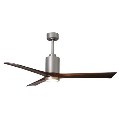60 Patricia 3-Blade Ceiling Fan with Wall Remote Finish: Brushed Nickel with Barn Wood Tone Blades