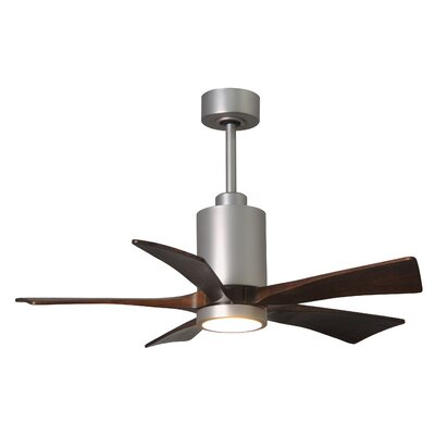 42 Patricia 5-Blade Ceiling Fan with Wall Remote Finish: Brushed Nickel Finish with Barn Wood Tone Blades