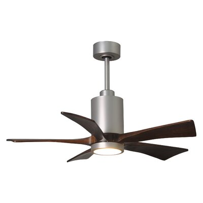 60 Patricia 5-Blade Ceiling Fan with Wall Remote Finish: Polished Chrome Finish with Barn Wood Tone Blades