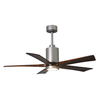 52 Patricia 5-Blade Ceiling Fan with Wall Remote Finish: Polished Chrome Finish with Barn Wood Tone Blades