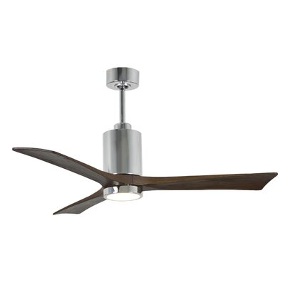 52 Patricia 3-Blade Ceiling Fan with Wall Remote Finish: Polished Chrome