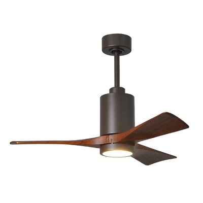 42 Patricia 3 Blade Ceiling Fan with Wall Remote Finish: Textured Bronze with Walnut Tone Blades