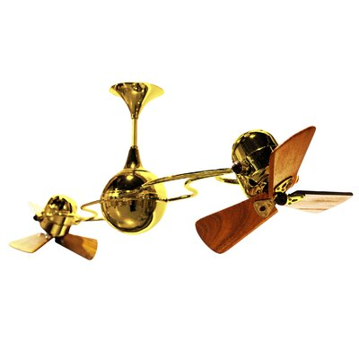 53 Italo Ventania 3 Wooden Blade Ceiling Fan Finish: Ouro, Damp Location: No