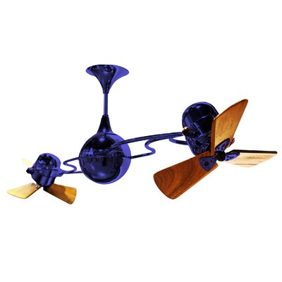 53 Italo Ventania 3 Wooden Blade Ceiling Fan Finish: Blue, Damp Location: No