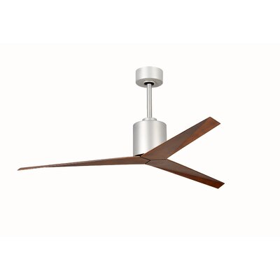 56 Eliza 3-Blade Ceiling Fan with Hand Held and Wall Remote Finish: Walnut