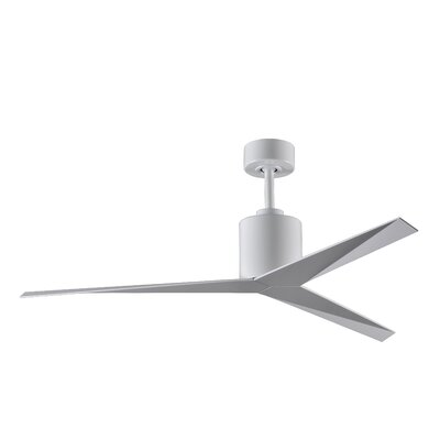 56 Hedin 3-Blade Ceiling Fan with Hand Held and Wall Remote Finish: White with Gloss White Blades