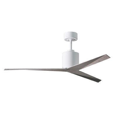 56 Hedin 3-Blade Ceiling Fan with Hand Held and Wall Remote Finish: Gloss White Finish with Barn Wood Blades