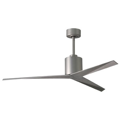 56 Hedin 3-Blade Ceiling Fan with Hand Held and Wall Remote Finish: Brushed Nickel Finish with Barn Wood Blades