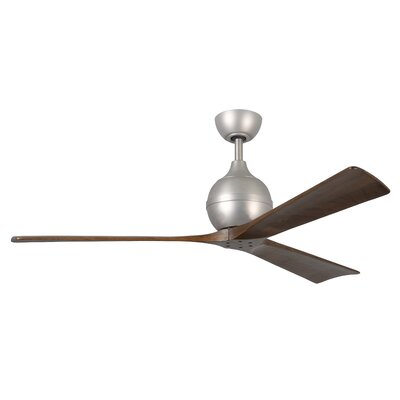 60 Bernard 3 Blade Ceiling Fan with Remote Finish: Brushed Nickel with Barn Wood Tone Blades