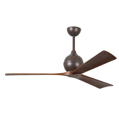 60 Bernard 3 Blade Ceiling Fan with Remote Finish: Textured Bronze with Barn Wood Tone Blades