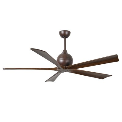 60 Bernard 5 Blade Ceiling Fan with Remote Finish: Textured Bronze with Barn Wood Tone Blades