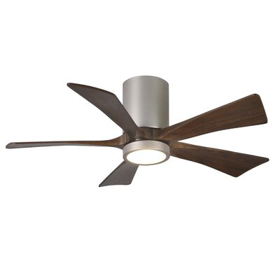 42 Bernard Flushmount Light Kit 5 Blade LED Ceiling Fan with Remote Finish: Brushed Nickel with Barn Wood Tone Blades