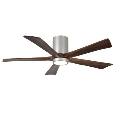 52 Bernard Flushmount Light Kit 5 Blade LED Ceiling Fan with Remote Finish: Brushed Nickel with Barn Wood Tone Blades