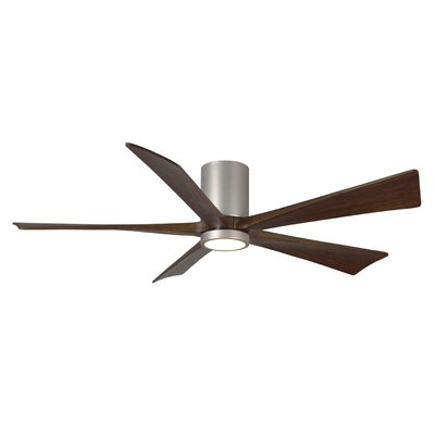 60 Bernard Flushmount Light Kit 3 Blade LED Ceiling Fan with Remote Finish: Brushed Nickel with Barn Wood Tone Blades