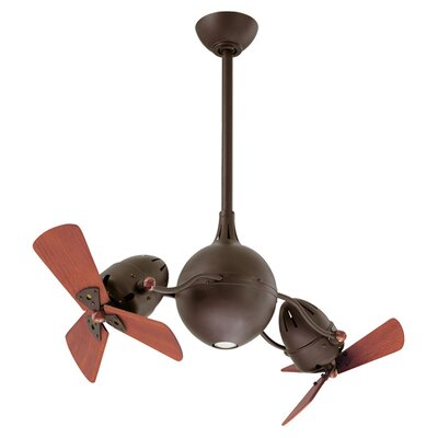 38 Acqua Dual 6 Wooden Blade Rotational Ceiling Fan Finish: Textured Bronze