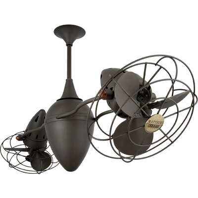 48 Ar Ruthiane 6 Metal Blade Rotational Ceiling Fan Finish: Bronze, Damp Location: No