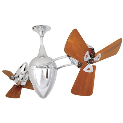 48 Ar Ruthiane 3 Wooden Blade Rotational Ceiling Fan Finish: Chrome, Damp Location: No