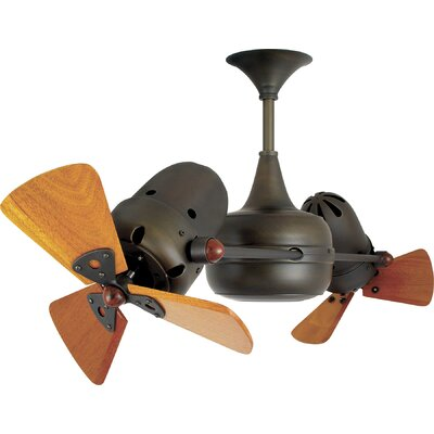 36 Duplo-Dinamico 3 Wooden Blade Rotational Ceiling Fan Finish: Agua Marinha, Damp Location: No