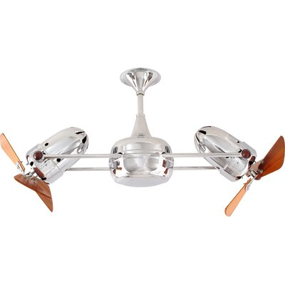 36 Duplo-Dinamico 3 Wooden Blade Rotational Ceiling Fan Finish: Polished Chrome, Damp Location: No
