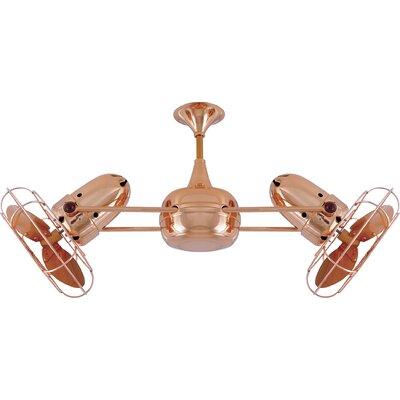 36 Duplo-Dinamico 3 Wooden Blade Rotational Ceiling Fan Finish: Polished Copper, Damp Location: No