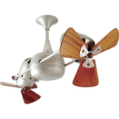 36 Duplo-Dinamico 3 Wooden Blade Rotational Ceiling Fan Finish: Brushed Nickel, Damp Location: No