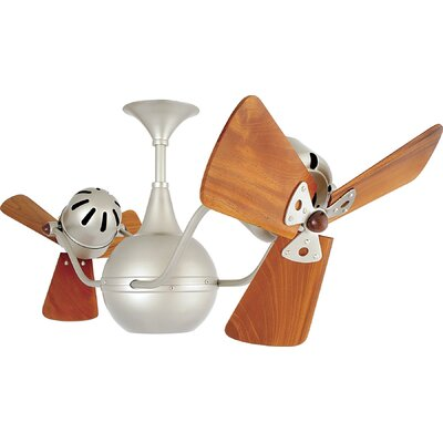 42 Vent-Bettina 3 Wooden Blade Ceiling Fan Finish: Brushed Nickel, Damp Location: No