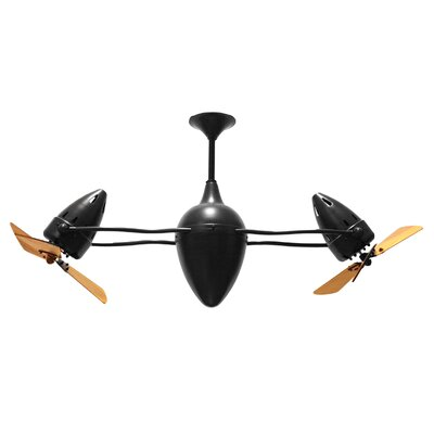 48 Ar Ruthiane 3 Wooden Blade Rotational Ceiling Fan Finish: Black Nickel, Damp Location: No