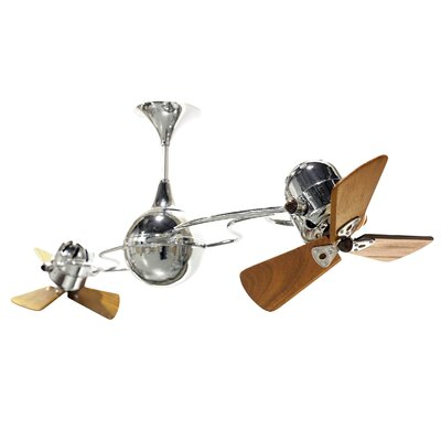 53 Italo Ventania 3 Wooden Blade Ceiling Fan Finish: Polished Brass, Damp Location: No