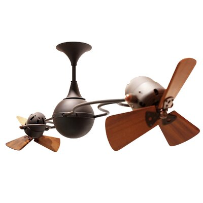 53 Italo Ventania 3 Wooden Blade Ceiling Fan Finish: Bronze, Damp Location: No
