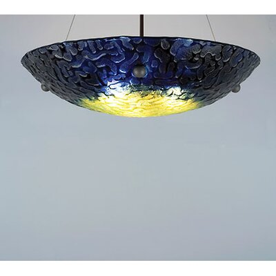 4-Light Bowl Inverted Pendant Drop: 46, Glass Color: Whirlpool Baron