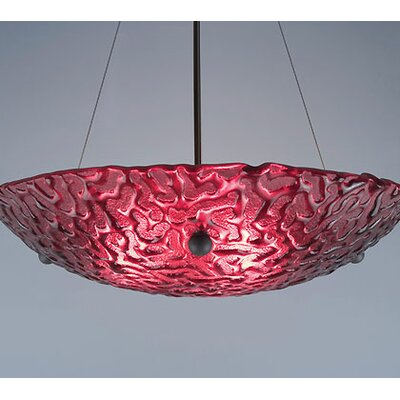 4-Light Bowl Inverted Pendant Drop: 34, Glass Color: Phantom Red