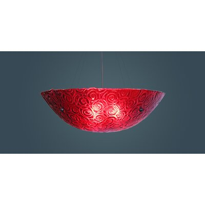 4-Light Bowl Inverted Pendant Glass Color: Whirlpool Red, Drop: 58